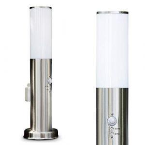Borne d'éclairage Caserta avec détecteur de mouvement et prise, en acier et plastique étanche, luminaire d'extérieur (IP44) de 45 cm de haut pour une ampoule E27 max.15 Watt, compatible ampoules LED (hofstein, neuf)