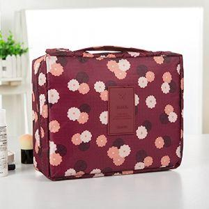 MZP Corée sac de lavage Kit de Voyage portable dame Voyage poche imperméable Voyage d'affaires Produits cosmétiques , wine red daisy (ZhongPing Miao, neuf)