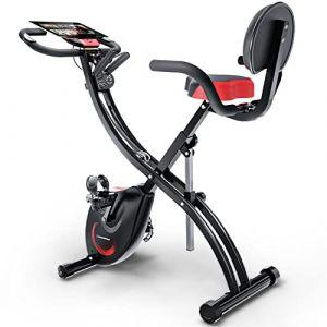 Sportstech Vélo d'Appartement F-Bike X100-B 4-en-1 Home Trainer Vélo d'intérieur, X-Bike pour Adulte, poignées avec cardiofréquencemètre, Cordes de Traction, Support pour Tablette, Dossier inclinable (InnovaMaxx FR, neuf)