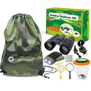 Kit Explorateur Enfant, Jouets Cadeaux Pour Enfants 3-10 Ans Garçons Filles - Jumelles, Jampe de Poche, Boussole, Sifflet, Loupe, Pincette, Visionneuse d'insectes, Camouflage Sac à dos, Belle boîte (AEJOK Direct, neuf)