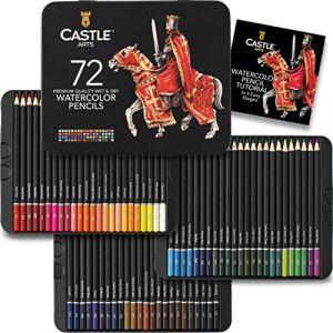 Château Art Supplies Lot de 72crayons de couleur aquarellables pour adultes et les professionnels–Premium Artiste Laisse avec couleurs vives et de superbes effets de mixage avec de l'eau (Castle Art Supplies (UK), neuf)