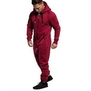 Combinaison Pyjama Homme Ensembles Capuche Grenouillere Long Adulte Salopette Jumpsuit Imprimé Zip Pantalon de Sports Muscle Zipper Youngii(Rouge A,S) (Youngii, neuf)