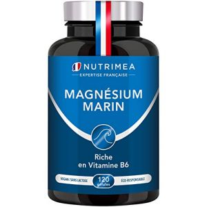 Magnésium Marin et Vitamine B6 - Jusqu'à 300 mg/jour -120 gélules d'origine végétales jusqu'à 4 mois de cure - Combat efficacement la fatigue - Nutrimea - Fabrication Française (PLASTIMEA, neuf)