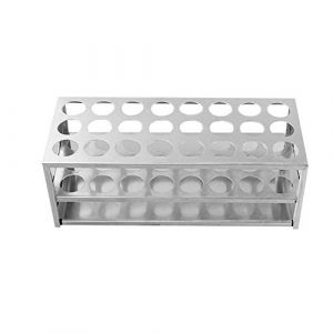 Porte-Tubes en Aluminium, ?27mm×24 Positions Support Tubes à Essai, Porte-Éprouvettes de Laboratoire (XRICH, neuf)