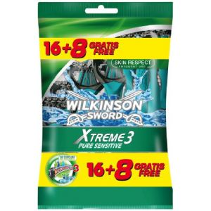 Wilkinson - Xtreme 3 Pure Sensitive - Rasoirs jetables masculins - Pack de 24
