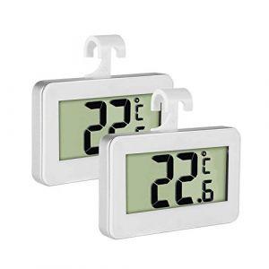 Thermomètre de réfrigérateur, Inrigorous Lot de 2 moniteur LCD Digital Thermomètre pour réfrigérateur congélateur avec grand écran LCD,magnétique,dos à suspendre Crochet rétractable et support 2 Pack (UK Professional, neuf)