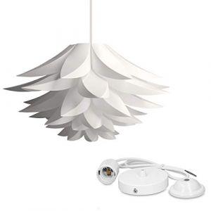 kwmobile Lampe puzzle design lotus - Abat-jour XL à monter - Luminaire IQ plafond - Ensemble avec montage plafonnier câble 90cm douille E27-50 pcs (KW-Commerce, neuf)