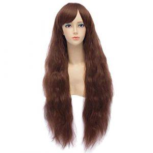 HongHu Lolita Maïs Chaud Fluffy Longs Cheveux Bouclés Cosplay Costume Anime Perruques Costume De Fête Pop Brun Foncé (HongHu Co. Ltd., neuf)