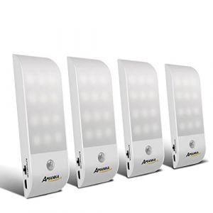 4 Pack Lampe Automatique, AMANKA Lampes LED à Détecteur de Mouvement, Lampe de Placard, Charge-Powered LED Night Light, pour Escalier, Armoires, Placards, Alimenté, Facilité d'installation (Amanka-EU, neuf)