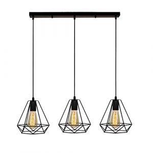 STOEX Suspension Industrielle Vintage Cage Dimant, Lampe de Plafond Barre 3 Luminaire Métal Lustre Abat-Jour E27 Noir (STOEX, neuf)