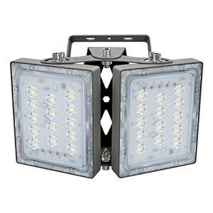 Projecteur LED 60W, IP65 Imperméable, 5400LM, Eclairage Extérieur LED, Equivalent à Ampoule Halogène 360W, 5000K Lumière Blanche du Jour, Projecteur réglable pour entrées, cour et garage (Panda Light, neuf)