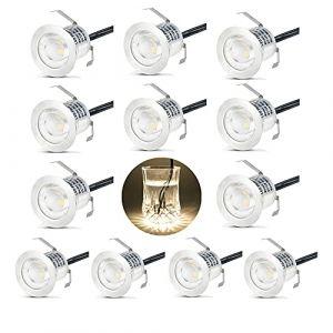 Domua 12X Spots LED Encastrable Extérieur, Etanche IP67, Spots à Encastrer pour Terrasse Bois Plafond, 0,6W DC12V lumière Blanc Chaud, Kit Mini Lampe pour Chemin Contremarches d'escalier (AKOR, neuf)