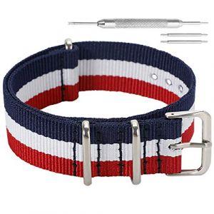 12mm noir haut de gamme bleu / blanc / rouge luxe toile nylon style NATO remplacement de la courroie de bande de montre pour les filles (Autulet Europe, neuf)