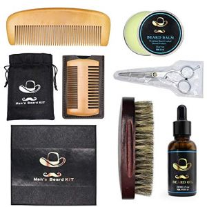 Symeas Barbe soin ensemble barbe baume barbe huile barbe peigne brosse barbe moustaches ciseaux barbe styling outils kit (Someas, neuf)