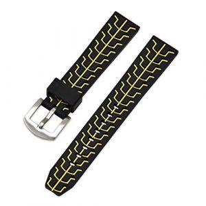 Ullchro Bracelet Montre Remplacer Silicone Bracelet Montre TextuRouge - 20, 22, 24mm Caoutchouc Montre Bracelet avec Acier Inoxydable Boucle Argent (22mm, Jaune) (Ullchro-EU, neuf)