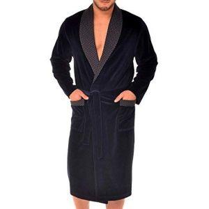 Robe de Chambre pour Hommes RE-103 Velours - Bleu foncé - XXL (Revise, neuf)