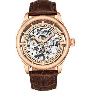 Montre Automatique pour Homme Stuhrling Original, Cadran Squelette avec Bracelet en Cuir, série 3933 (Rose Gold) (Timeworks International, neuf)