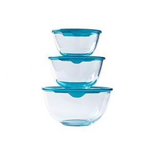 Pyrex® - Prep & Store - Lot de 3 bols en verre résistants avec couvercle (0,5L - 1L - 2L) - Sans BPA (Pyrex, neuf)