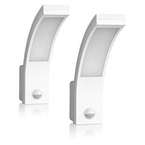 SEBSON® 2x Luminaire exterieur avec detecteur de mouvement, Blanc, 15W, 1000lm, 5800K, IP54 Applique Murale (SEBSON, neuf)