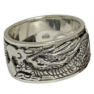 FORFOX Bague tournante Dragon Chinois Argent Sterling 925 Vintage pour Hommes Femmes 12mm Tallie 58 (ForFox, neuf)