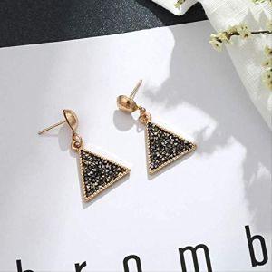 Boucles d'oreilles Style de vacances boucles d'oreilles Triangle noir brillant et brillant cadre doré goutte boucle d'oreille cadeau pour la fête d'anniversaire (Graceguoer, neuf)