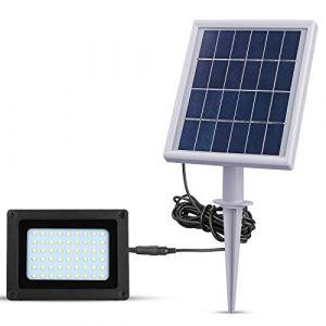 Projecteur solaire à LED - 54 LED - 4000 mA - 300 lumens - Étanche - IP65 - Avec interrupteur - Pour extérieur, patio, pelouse, jardin, allée (RICHARM DIRECT, neuf)