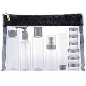 MYLL 15 Pièces Flacons Vide Kit Voyage Avion (Max.100ml) Contenant Plastique Bouteille dans Recipient, Cuir Organisateur Set de Toilette - pour Cosmetique (Transparent) (MYLL, neuf)
