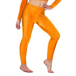 Re Tech UK Legging de gymnastique/danse - pour fille - Lycra/élastiqué - sans sous-pied - brillant/fluo - Orange - 9-10 ans (Re Tech UK, neuf)