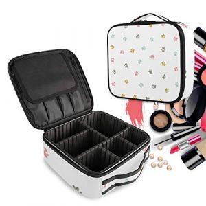 Chien Pug Art Pied Impression Trousse Sac Cosmétique Organisateur de Maquillage Pochette Sacs Cas avec Cloisons Amovibles pour Voyage Les Femmes Filles (LDIYEU, neuf)