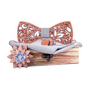 Pas cher Noeud papillon en bois, Mouchoir en bois manuel noeud papillon ensemble Bowtie bois creux homme sculpté et boîte Prix réduit Attacher pour Saint-Patrick et Pâques (FOOD HINK, neuf)