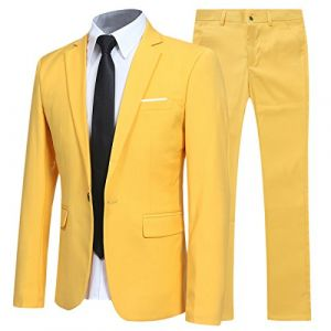 Costume Homme d'affaire en cérémonie Mariage Veste et Pantalon Deux pièce Slim fit,Jaune,S (Allthemen, neuf)