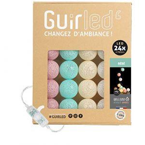 Guirlande lumineuse boules coton LED USB - Veilleuse bébé 2h - Adaptateur secteur double USB 2A inclus - 3 intensités - 24 boules 4m - Bébé (Lighting Arena, neuf)