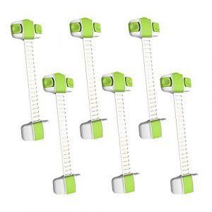 MINGZE Serrure de Sécurité Enfant lot de 6, Verrouillage Porte Bébé Bande réglable Loquets de Bébé Enfant sur Placard Armoires Tiroirs Fours Réfrigérateurs Faciles à Installer (Vert) (MINGZE, neuf)