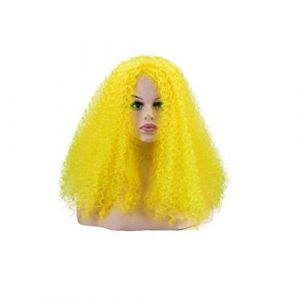 Huijunwenti Perruques Pour Black Wome, Perruque À Vis, Longue Perruque Rock Rock, Plusieurs Couleurs Dernier style, belle femme (Color : Yellow) (Huijunwenti yongpingdian, neuf)