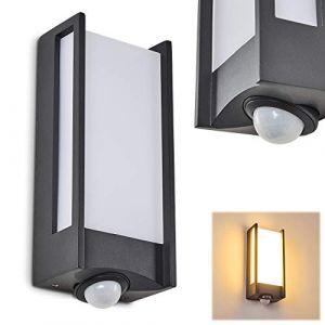 Applique murale d'extérieur LED Skove en aluminium anthracite, lampe moderne avec détecteur de mouvements intégré, idéale pour une entrée ou un garage, IP54, 13 Watt, 800 Lumen, 3000 Kelvin (hofstein, neuf)
