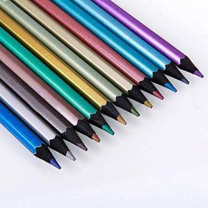 Gemini _ Mall® 12pcs non toxique métallique Crayons de couleur 12Couleur Dessin esquisse crayon pour des livres de coloriage pour adulte d'écriture Dessin croquis Loquet (Gemini_mall, neuf)