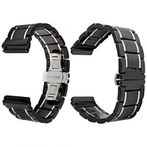 Bracelet Watch Céramique, Qianyou pour Fitbit Versa Strap Bracelet de Remplacement Bande de Montre Adjustable avec Boucle Deployante en Métal Unisex Noir-5 Rangées (Qiyou, neuf)
