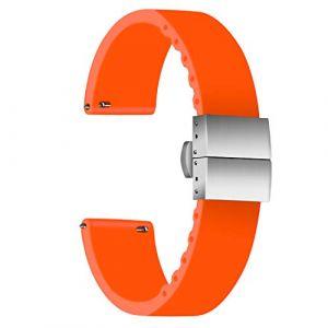 Ullchro Bracelet Montre Haute Qualité Remplacer Silicone Bracelet Montre - 14mm, 16mm, 18mm, 20mm, 22mm, 24mm Caoutchouc Montre Braceletavec Boucle Déployante Acier Inoxydable (24mm, Orange) (Ullchro-EU, neuf)