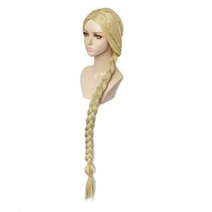TCYLZ 120 cm / 48 pouces Halloween femmes princesse emmêlée raiponce Cosplay perruque blonde tresse cheveux jeu de rôle doré tressé cheveux et fleurs une taille seulement perruque (zhanghongjia0715., neuf)