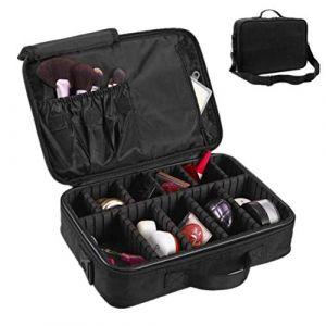 Sac à cosmétiques imperméable à l'eau avec cloison amovible brosse organisateur portable double couche grande capacité Make Up Bag pour maquillage ongles beauté,Black (AND DOG, neuf)