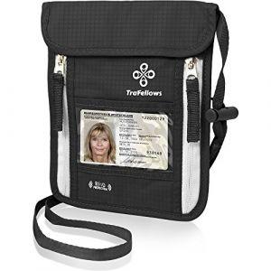 Pochette Tour du Cou | Protege passport & telephone | Etui bandouliere avec protection RFID pour homme & femme – gardez documents & papiers en sécurité (Noir) (Labati, neuf)