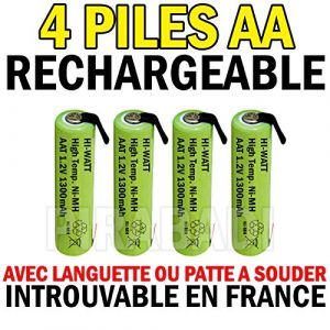 4 PILES ACCU RECHARGEABLE 1.2V NI-MH AA LR06 1300mAh AVEC LANGUETTE A SOUDER (PIRABADI, neuf)