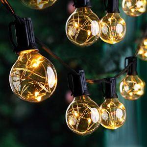 IP65 Guirlande Guinguette Raccordable 30+1 G40 LED Ampoule avec Crochet, Quntis 9,8M Décoration Lumineuse Étanche à Boule Intérieure/Extérieure Blanc Chaud pour Fête Noël Chambre Jardin Mariage (Ulinek, neuf)