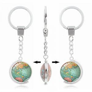 Porte-clés Umerbee Porte-clés double face rotatif carte du monde Porte-clés temps Gems Porte-clés Porte-clés cadeau (Umerbee, neuf)