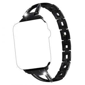 Qianyou Bracelet de Remplacement Compatible pour Apple Watch Series 3/2/1 38mm Bande de Montre Bracelet Acier Inoxydable Femme Homme Wristband Bracelet Réglable avec Diamant Artificiel Noir (Qiyou, neuf)