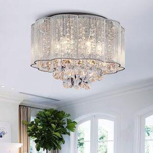 Cristal moderne gouttes de pluie gouttelettes allumant encastré montage LED plafonnier luminaire suspension pour salle à manger salle de bain chambre à coucher salon 6 ampoules LED E14 requis (Annaka Lighting UK, neuf)