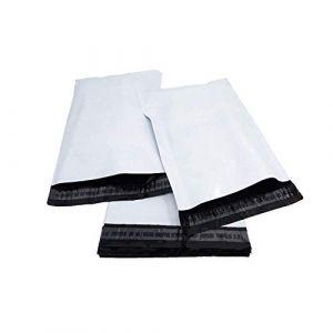 """Lot de 100 pochettes postales en plastique blanc, fermeture de qualité en polyéthylène auto-adhésif 10"""" x 14"""" (25cm x 35cm) (Printerbase LTD, neuf)"""
