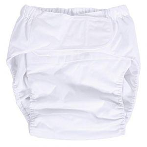 Broco Couche pour adultes, nouvelle couche lavable pour adulte Adjuatable en tissu, respirant, réutilisable, absorbant, super absorbant, couche moyenne, sous-vêtements pour incontinence(blanc) (Broco, neuf)