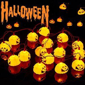 Halloween Guirlande Lumineuse, Rideau Lumière, Pumpkin LED Etoilée, LED string light, LED Cordes, 16 LED 2.7M Pumpkin Guirlande d'Eclairage,Guirlande LED décoration de Halloween, Etanche IP44 (GiorNatural, neuf)