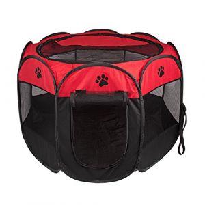BIGWING Style Parc Chien Parc à Chiot Enclos pour Chiens Chats Lapins Pliable Utiliser à l'intérieur et à l'extérieur (Rouge) (Altrue, neuf)